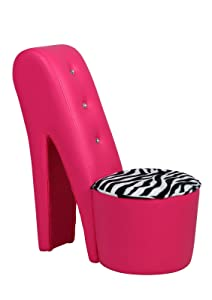Hot Fuchsia Pink Diamante Stiletto Chair with Zebra Print Detail       Customer review and more information