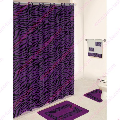 Black And Purple Zebra 5 Piece Bathroom Set 2 Rugs Mats 1