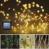 Amazon.co.jpMYJP ソーラーストリングライト LEDジュエリーライト 銅線ワイヤー 全長10M 100LED イルミネーションライト 防水 屋外 お庭やクリスマス飾りなど用(ウォームホワイト)