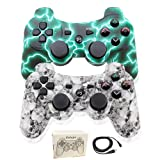 PS3 Controller Wireless for Playstation 3 Dual shock (Pack of 2, WhiteSkull and GreenFlash) (Color: WhiteSkull and GreenFlash)