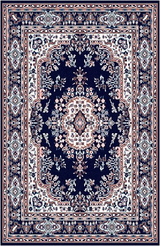 Traditional Area Rug, Home Dynamix Premium 4'x5' Navy Blue