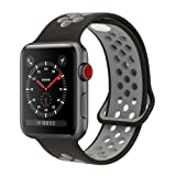 YC YANCH Greatou Compatible for Apple Watch Band 42mm,Soft Silicone Sport Band Replacement Wrist Strap Compatible for iWatch Apple Watch Series 3/2/1,Nike+,Sport,Edition,M/L,Black Coolgray (Color: Black/Coolgray, Tamaño: 42mm M/L)