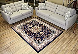 Nevita Collection Isfahan Persian Traditional Design Area Rug Rugs (Navy Blue, 5\' 3\