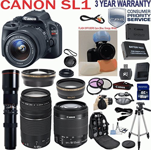 """Canon EOS Rebel SL1 18.0 MP CMOS Digital Camera HD Video with EF-S 18-55mm f/3.5-5.6 IS STM Zoom Lens + Canon 75-300mm III ZOOM Lens + 500mm Super Zoom Nature Photography Preset Lens + Telephoto & Wide Angle Lenses + 3pc Filter Kit + Camera Deluxe Case + Professional Grip Strap + 50"""" Tripod + Extra Backup Battery + 3pc Flash Diffuser Set for Red Eye Reduction with 16GB SD Class 10 Card + 33rd Street Starter Kit + 3 Year Warranty & more"""