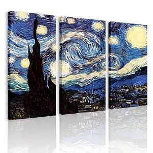S69 la notte stellata 3 quadri moderni 120x80 cm for Stampe da appendere