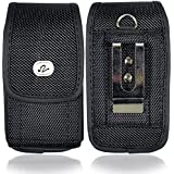 Heavy Duty Vertical Small Smart Phone/ iPhone 3G / 3Gs / iPhone 4 / 4S size Nylon Cell Phone Case / Pouch / Holster with Belt Loop, Metal Belt Clip, & Velcro Closure