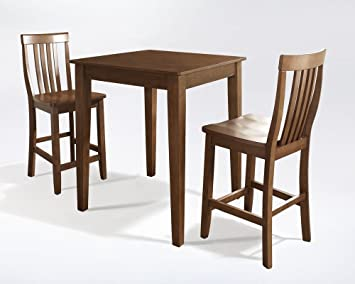 3-pc Pub Dining Set with Tapered Leg and School House Stools by Crosley - Classic Cherry Finish (KD320007CH) (Set of 2)