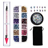 Crystals for Nails,Crystal Studs Wax Pen,Multicolored Flatback Nail Gems and Rhinestones with Multi Shapes Glass AB Rhinestones for Nails Decoration Crafts Face Art Clothes Shoes Bags DIY by MGKOK