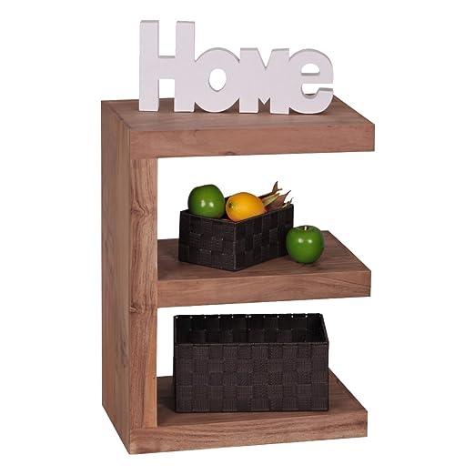 """Soggiorni Ling WL1, 450 in legno di acacia legno massiccio tavolino """"e"""" Cube 44 x 30 x 60 cm con ripiano"""