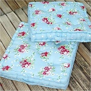 2 Shabby Chic English Rose Padded Floor Cushions: Amazon.co.uk: Kitchen & Home