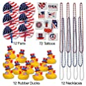 Patriotic July 4th Toy Assortment Temporary Tattoos