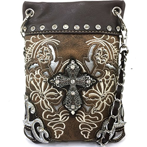 Justin West Floral Embroidery Tooled Laser Cut Rhinestone Studded Cross CrossBody Mini Handbag Phone Messenger Purse (Brown) (Messenger Bag Custom compare prices)