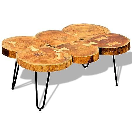 vidaXL Massivholz Sheesham Couchtisch Palisander Beistelltisch Baumscheiben Tisch 35cm