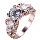 Junxin Top 10 KT Rose Gold Plated Ring,Women and Man Wedding Engagement Promise Rings,Three Stone rings to Show You Unlimited Beauty and Self confidence Size 8