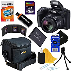 Canon Powershot SX410 IS 20 MP Digital Camera with 40x Optical Zoom and 720p HD Video (Black) + NB-11L Battery + 8pc Bundle 16GB Accessory Kit w/ HeroFiber Ultra Gentle Cleaning Cloth