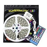 SUPERNIGHT 16.4ft Waterproof RGBW LED Flexible Strip Lights 12V 5M 300 LEDs Ribbon Lamps + 40 Keys Infraed Remote Controller