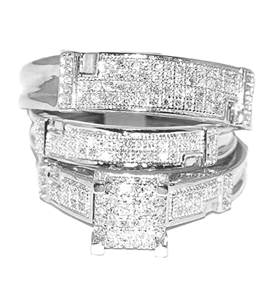 Rings-MidwestJewellery.com Women's White Gold Trio Wedding Set Wo Rings Real 1/2Cttw Diamonds Pave(I/J Color 0.5Cttw)