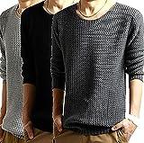 シンプル ニット メンズ セーター 長袖 濃灰 黒 灰