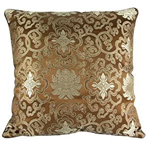 Amazon.com - Silky Decorative Embroidered Oriental Cushion Cover / Pillow Case - Bronze - Throw ...
