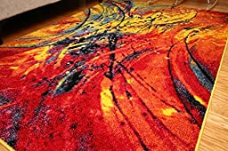 Radiance ant6005_6x8 Art Collection Contemporary Modern Splat Wool Area Rug, 5\'2 x 7\'3, Multicolor