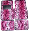 Pink Leopard Animal Print Front & Rear Carpet Car Truck SUV Floor Mats