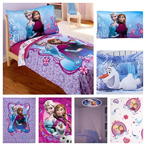 Disney Frozen Toddler Bed Set with Plush Throw Blanket & Frozen Night Light - 6 Piece
