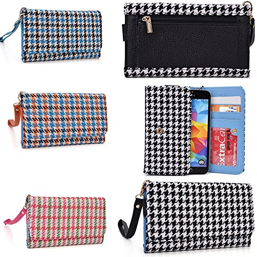 Wallet Phone Holder- Accented Coin Zipper- Retro Houndstooth Plaid Pattern- Universal Fit For Samsung Galaxy S5 Active