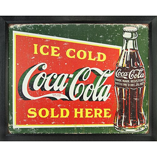 Vintage Ice Cold Coca-Cola Tin Sign, 12.5-Inch by 16-Inch, Distressed Appearance, Framed in .84-Inch Wide Black Picture Frame 0