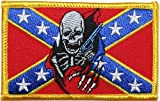 Confederate Flag Skull Pistol Skull Motorcycle Rider Throttle Embroidered iron on Motorcycle Biker Patch