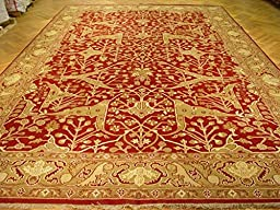 12x18 NEW Hand Knotted Imported Rug- RED & GREEN