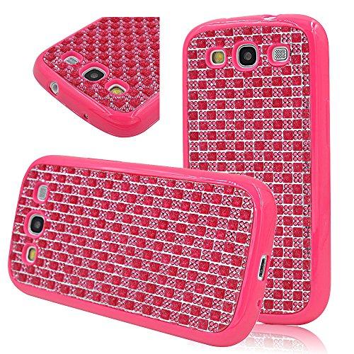 Seedan Dark Pink Tpu Soft Gel Case For Samsung Galaxy S3 I9300 Bling Strass Shiny Glisten Diamond Design Back Cover Skin Protective Shell