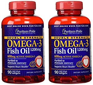 Puritan 39 s pride 2 pack of double strength for Omega 3 fish oil amazon