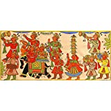 """Dolls Of India """"Festive Procession Of Rajasthan"""" Phad Painting On Cloth - Unframed (36.83 X 17.78 Centimeters)..."""