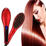 #8: Ceramic Electric Hair Straightener Brush with LCD Display
