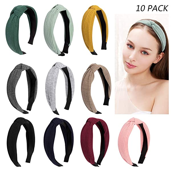 Jaciya 10 Pieces Knotted Headbands for Women Turban Headbands for Women Wide Headbands for Women Knot Headband 10 Colors (Color: 10 Pack Knotted Headband)