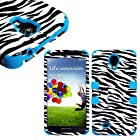 myLife Sky Blue - Zebra Stripe Design (3 Piece Hybrid) Hard and Soft Case for the Samsung Galaxy S4 Fits Models: I9500, I9505, SPH-L720, Galaxy S IV, SGH-I337, SCH-I545, SGH-M919, SCH-R970 and Galaxy S4 LTE-A Touch Phone (Fitted Front and Back Solid Cover Case + Internal Silicone Gel Rubberized Tough Armor Skin)