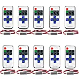 FAVOLCANO (10 Pack) Mini LED Controller Dimmer with 11 Key RF Wireless Remote Control DC 5~24V 12A for Single Color 3528 5050 LED Strip Lights (Color: Mixed color, Tamaño: R107)
