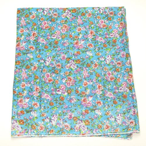 Small Floral Print Women's Blue Cotton Sarong - Beach Dress