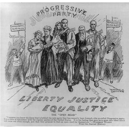 Photo: Progressive Party,Liberty,Justice,Equality,Cartoon,1912