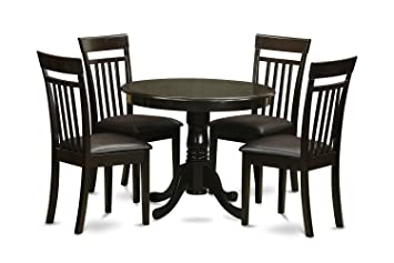 East West Furniture ANCA5-CAP-LC 5-Piece Kitchen Table and Chairs Set, Cappuccino Finish