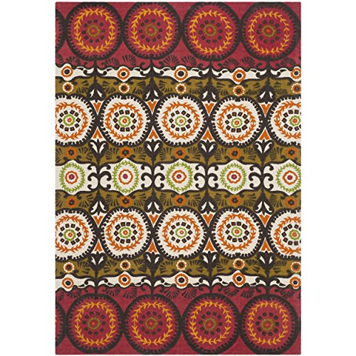 Safavieh Cedar Brook Collection CDR127J Handmade Red and Orange Cotton Area Rug, 4 feet by 6 feet (4' x 6')
