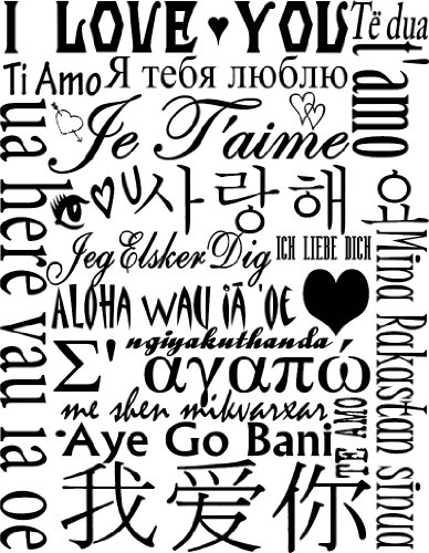 I Love You in Many Languages Wall Decal Black Vinyl