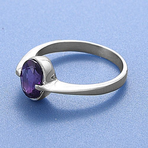 .925 Sterling Silver Ring with Amethyst CZ - Size 8 - Face Hieght:9mm , Band Width:2.5mm.Finish: Polished