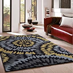 RUG ADDICTION FREE RUG PAD INCLUDED ~5\' ft. 7\' ft. Grey with Yellow Floral Transitional Indoor Area Rug