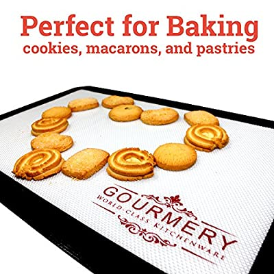 Gourmery Premium Silicone Baking Mat Set (2pcs) - Fits US Half Sheets, Dishwasher Safe, Reusable