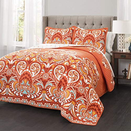 3-Piece-Orange-Damask-Quilt-King-Set-All-Over-Bohemian-Themed-Bedding-Bright-Boho-Chic-Colored-Hippy-Print-Gorgeous-Floral-Paisley-Hippie-Indie-Style-Pretty-Tangerine-Blue-White-Yellow