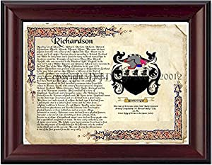 Richardson Coat of Arms/ Family Crest on Fine Paper and Family History