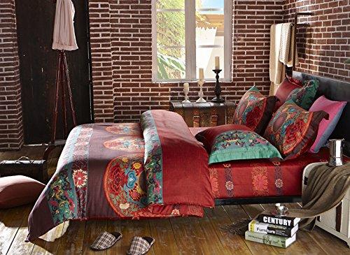 LELVA Boho Bedding Set Bohemian Bedding Set Bedding Moroccan Exotic National Style Bedding, Full Queen Size 4pcs (3, Full) (Moroccan Bedding Full compare prices)