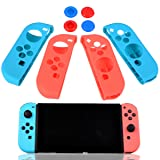 UCEC Silicone Cover Case Gel Guards, with Thumb Stick Caps, for Nintendo Switch Joy-Con Controller, 2 pairs (Color: blue+red Guards)