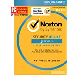 Norton Security Deluxe & Norton Utilities Bundle – 3 Devices – 1 Year Subscription - Product Key Card - 2019 Ready